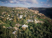 Aerial photograph of the art colony of Ein Hod on the Carmel ridge