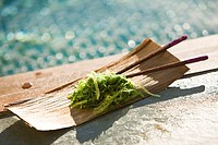 Close_up of seaweed with chopsticks on a wooden tray at the poolside