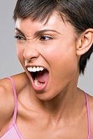 Close_up of a woman shouting