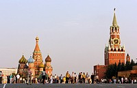 St Basils Cathedral and Kremlin in red Square in Moscow Russia