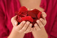 Mid section view of a woman holding a handful of red rose petals