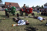 Discipline tractor dragging, the gladiators after the competition, Highland Games in Kreenheinstetten, Sigmaringen district, Upper Swabia, Baden-Wuert...