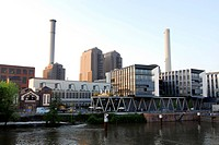 View of a power plant of the Mainova AG, electric works at the Westhafen harbor, Gutleutviertel district, Frankfurt am Main, Hesse, Germany, Europe