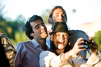 Three friends taking picture of themselves
