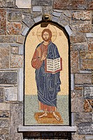 Saint, mosaic, church, mountain village Axos, Crete, Greece, Europe