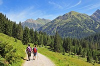 Hiking in Turatal Valley, Kleinwalsertal, Little Walser Valley, Vorarlberg, Allgaeu Alps, Austria, Europe