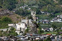 Church and castle of Saint Pierre in the Aosta Valley, Italy, Europe