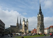 Market Church, Red Tower and monument to Handel, Halle an der Saale, Sachsen-Anhalt, Germany, Europe