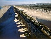 Aerial photograph of the Aqueduct of Caesarea in the Coastal plain