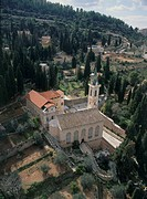 Aerial photograph of the Church of Visitation in Ein Kerem