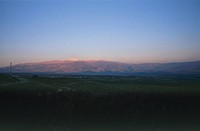 Photograph of the northern Golan Heights and mount Hermon at sunset