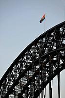 Australian flag on the Sydney Harbor Bridge, Sydney, New South Wales, Australia