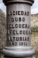 Inscription of Requejo bridge (Puente Pino) over Douro river, built in 1914. Arribes del Duero Natural Park, Zamora province, Spain