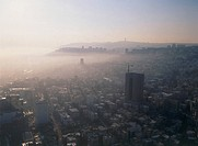 Aerial photograph of the morning smog over the city of Haifa