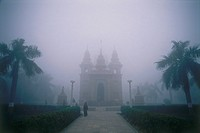 Photograph of an Indian palace in the fog