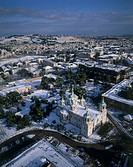 Aerial photograph of the Russian church in Jerusalem at winter