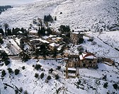 Aerial photograph of the village of Rosh Pina in the Upper Galilee at winter
