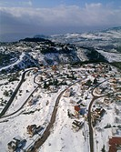 Aerial photograph of the suburbs of the city of Zefat in the Upper Galilee at winter