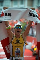 Triathlon, Timo Bracht, Germany, winner at the finish line, Ironman Germany, Frankfurt, Hesse, Germany, Europe