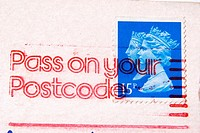 UK 15p Double heads stamp with frank encouraging 'Pass on your postcode '