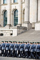 Recruits of the guard battalion of the Bundeswehr, German army, taking their ceremonial oath in front of the Reichstag building, Berlin, Germany, Euro...