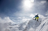 Snowboarder, jump, mountain panorama, St. Moritz, Grisons, Switzerland, Europe