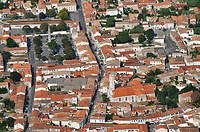 Aerial view. Saint-Pierre Town. Island of Oleron. Charente Maritime. France.
