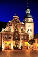 Market square with town hall and town hall tower, Ettlingen, Germany, Black Forest, Baden_Wuerttemberg, Germany, Europe