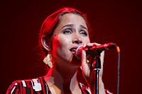 China Forbes, singer and front woman of the U.S. band Pink Martini, performing live at Blue Balls Festival in the KKL Concert Hall, Lucerne, Switzerla...