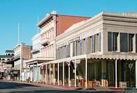 row of houses in Old Sacramento, building of gold grave time, USA, California, Sacramento, Jul 04.