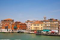 View of Fondamenta delle Zattere with Ponte Lungo from Canale della Giudecca, Venice, Italy, Europe