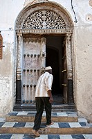 Typical Arabian door in Stonetown, Stone Town, Zanzibar, Tanzania, Africa