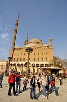 Western tourists in front of Mosque of Muhammad Ali Pasha, Alabaster Mosque, situated in Citadel of Cairo, Egypt, North Africa