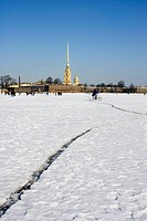Frozen Neva River at wintertime, St. Petersburg, Russia