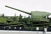 Soviet railway artillery conveyor of Second World War as exhibit of the Moscow Weaponry Museum on Poklonnaya Hill, Moscow, Russia