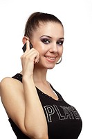 Cheerful woman talking on a phone