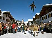 Jacklschutzer, Jagglschutzer, Jaklschutzer group in traditional costumes, carnival, Mittenwald, Werdenfels, Upper Bavaria, Bavaria, Germany, Europe