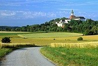 Kloster Andechs monastery in Herrsching, dirt road, grain field, Upper Bavaria, Bavaria, Germany, Europe