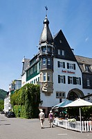 The Bellevue hotel at the Mosel river, Traben quarter, Traben_Trarbach, Mosel, district Bernkastel_Wittlich, Rhineland_Palatinate, Germany, Europe