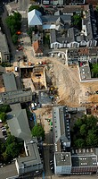 Aerial photograph, Cologne Stadtarchiv municipal archive, subway construction, collapse, construction, Cologne, North Rhine-Westphalia, Germany, Europ...