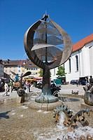Buchhornbrunnen Fountain, St Nikolauskirche Church in the back, Friedrichshafen on Lake Constance, Baden-Wuerttemberg, Germany, Europe