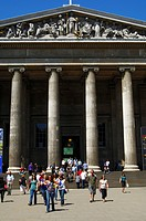 Main entrance of the British Museum, gable with allegorical figures above ancient pillars, London, Great Britain, Europe