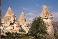Rock-cut cave dwellings in the Valley of Love near Goreme, Cappadocia region, Turkey