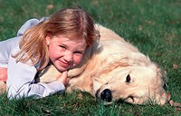 Golden Retriever Canis lupus f. familiaris, with girl