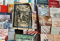 Antiquarian German magazine from the 19th Century, Schorer family sheet, displayed in book Bazaar, Beyazit Square, Istanbul, Turkey