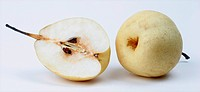 Shinseiki Asian pear, Asian pear Pyrus pyrifolia, distribution: Southeast Asia, cutted fruit, cross section