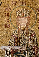 Empress Irene, Byzantine mosaic, South Gallery, Hagia Sophia, Aya Sofya, Sultanahmet, Istanbul, Turkey