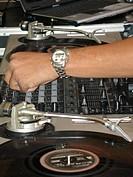 Closeup of DJ sound equipment, São Paulo, Brazil