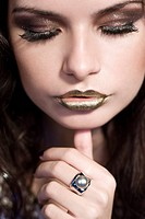 woman with golden lips