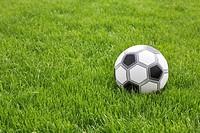 still life of football in grass